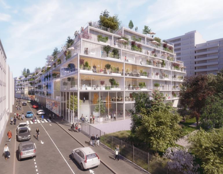 """Un des sites de construction neuve : l'immeuble """"Poissonniers"""", 18e."""