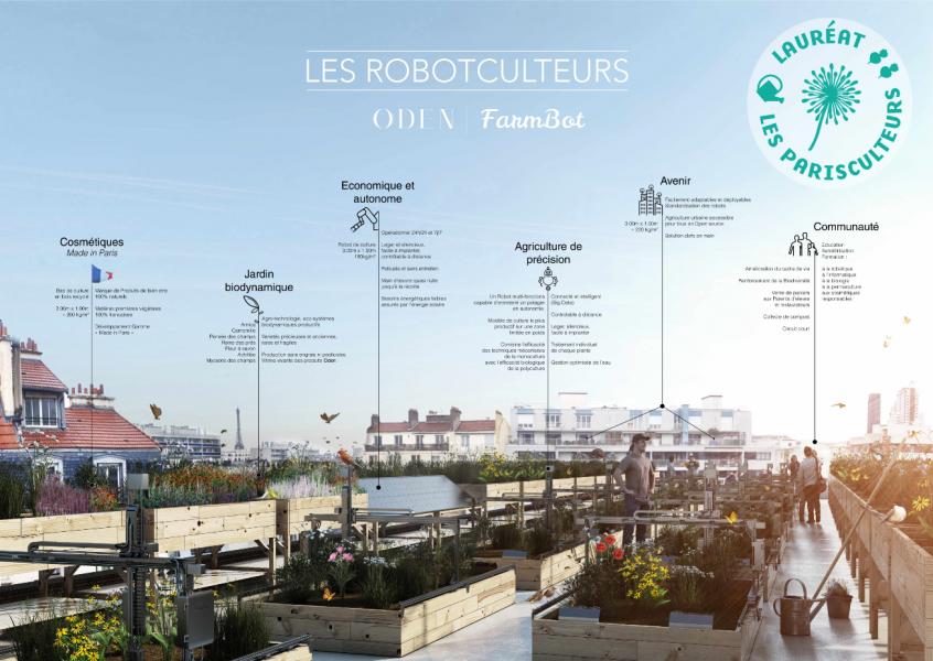 Projet lauréat : Jardin cosmétique biodynamique et autonome. Source : ODEN et les Robotculteurs®