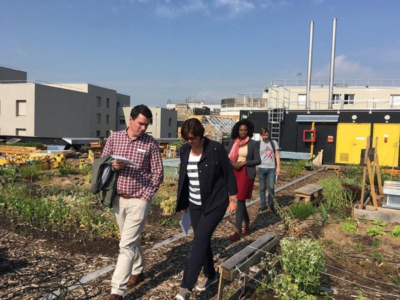 La délégation en visite sur le toit de la Communauté Facteur Graine. © Deve-Ville de Paris