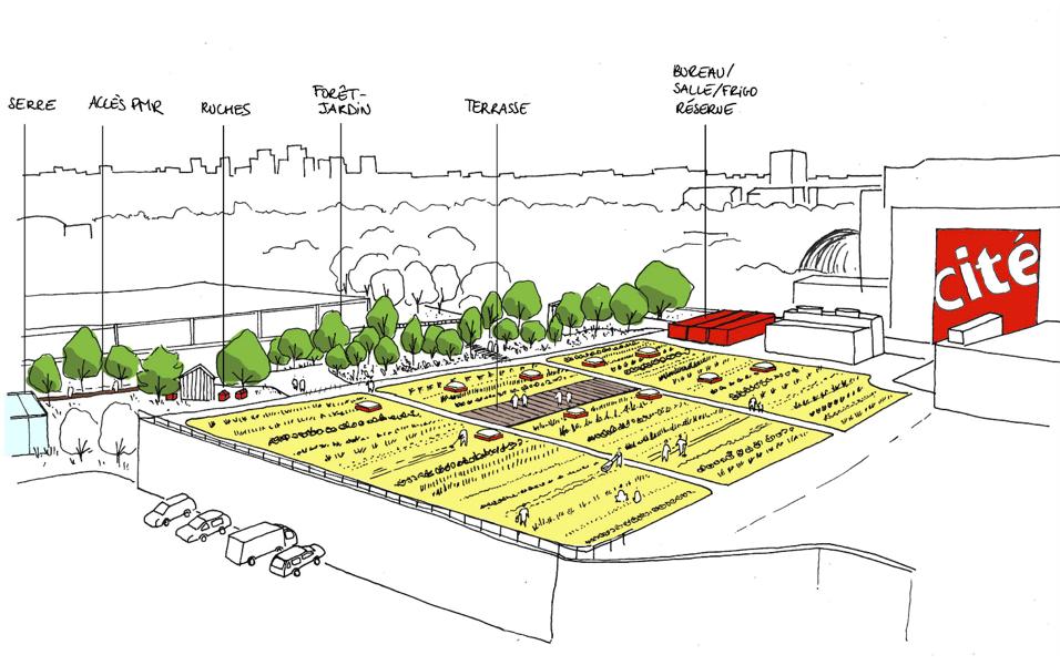© Le projet de l'équipe Amaury Dubois Paysage - Calbantine - Marmite Urbaine sur le site de la Cité des sciences et de l'industrie 19e. Partenaire : Universcience.
