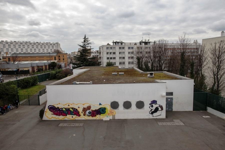 Collège Pailleron. Détail terrasse B. Source : Mairie de Paris Jean-Pierre Viguié ©