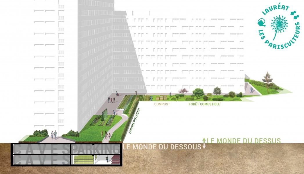 Projet lauréat : Le Terrier. Source : Cycloponics et Vergers urbains®