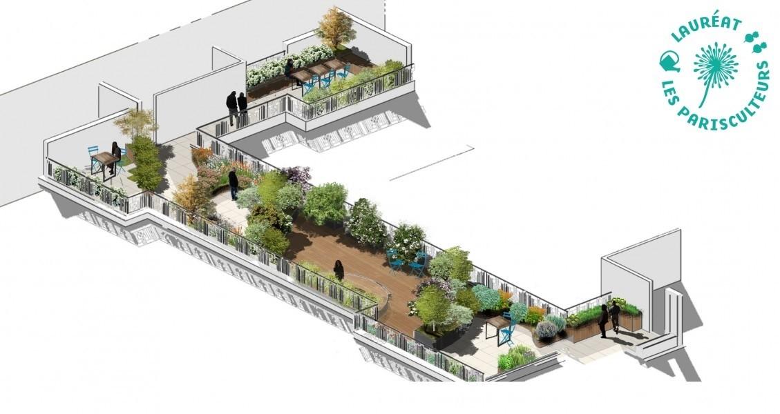 Projet lauréat : La cueillette parisienne. Source : Agnès Nicolas (Carpe Hortem),Pauline de Préneuf et Corporate Garden®