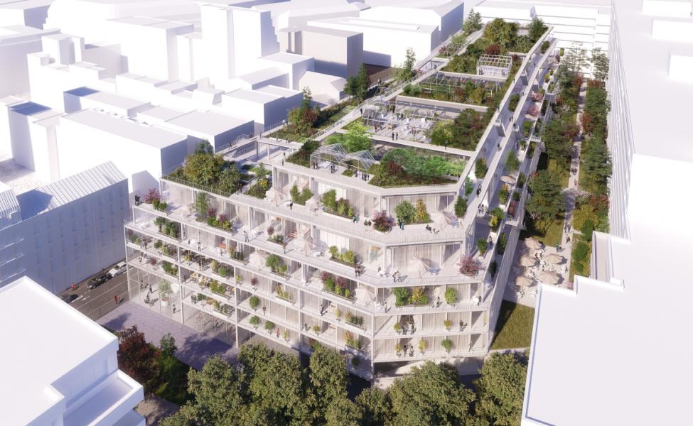 Visuel du projet depuis le balcon d'un logement. Source : Icade/Chartier Dalix