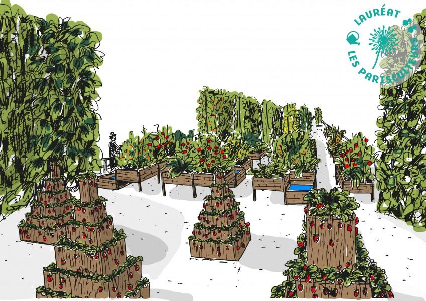 Projet lauréat : L'arche végétale. Source : Cueillette urbaine, UrbanLeaf et Cuisine Mode d'Emploi(s)®